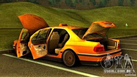 BMW 730i Taxi para GTA San Andreas vista superior