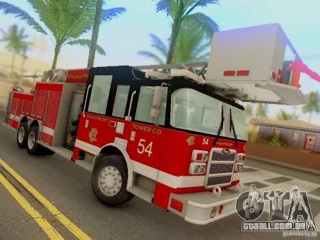 Pierce Tower Ladder 54 Chicago Fire Department para GTA San Andreas vista traseira