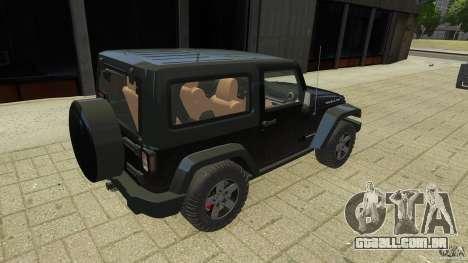 Jeep Wrangler Rubicon 2012 para GTA 4 traseira esquerda vista