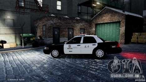 Ford Crown Victoria CVPI-K9 V6.9A-LAPD-ELS para GTA 4 esquerda vista