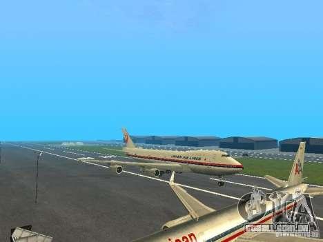 Boeing 747-100 Japan Airlines para GTA San Andreas esquerda vista
