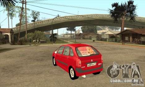 Citroen Xsara Picasso para GTA San Andreas traseira esquerda vista