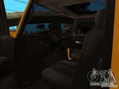 Hummer H2 4x4 diesel para GTA San Andreas vista traseira