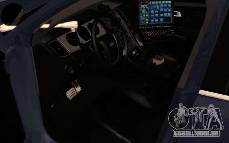 Ford Taurus Interceptor Unmarked 2013 para GTA San Andreas vista traseira