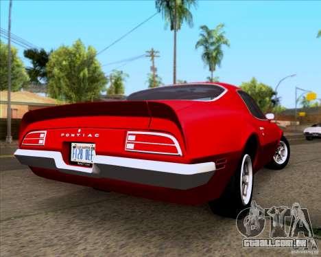 Pontiac Firebird 1970 para GTA San Andreas vista direita