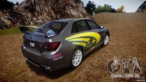 Subaru Impreza WRX STi 2011 Subaru World Rally para GTA 4 traseira esquerda vista
