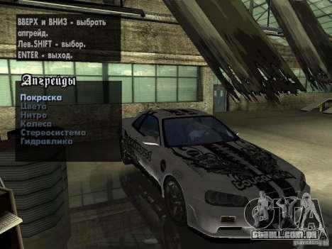 Nissan Skyline GT-R34 V-Spec para GTA San Andreas vista direita