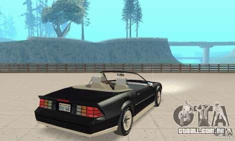 Chevrolet Camaro RS 1991 Convertible para GTA San Andreas esquerda vista