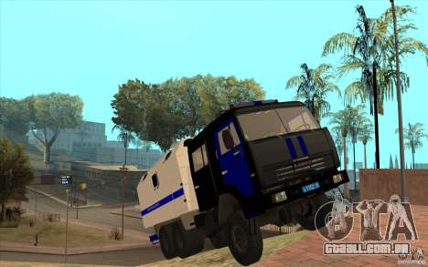 Polícia Kamaz para GTA San Andreas vista interior
