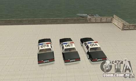 Chevrolet Caprice Interceptor 1986 Police para GTA San Andreas vista interior