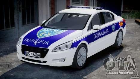 Peugeot 508 Macedonian Police [ELS] para GTA 4 vista de volta