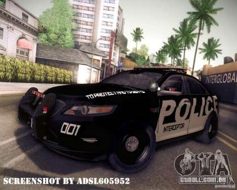 Ford Taurus Police Interceptor 2011 para GTA San Andreas traseira esquerda vista