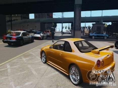 Nissan Skyline GT-R R34 Fast and Furious 4 para GTA 4 traseira esquerda vista