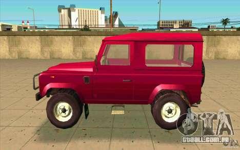 Land Rover Defender 90SW para GTA San Andreas esquerda vista