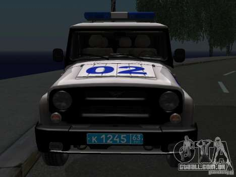 UAZ-315195 caçador de polícia para GTA San Andreas vista traseira