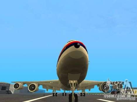 Boeing 747-100 Japan Airlines para GTA San Andreas vista traseira