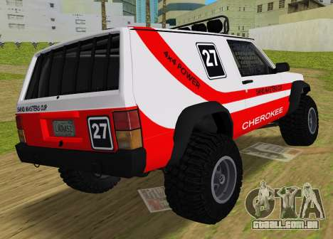 Jeep Cherokee 1984 Sandking para GTA Vice City deixou vista