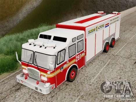 E-One F.D.N.Y Fire Rescue 1 para GTA San Andreas vista traseira