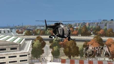 AH-6 LittleBird Helicopter para GTA 4 vista de volta
