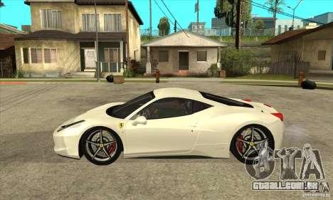 Ferrari 458 Italia 2010 v2.0 para GTA San Andreas esquerda vista