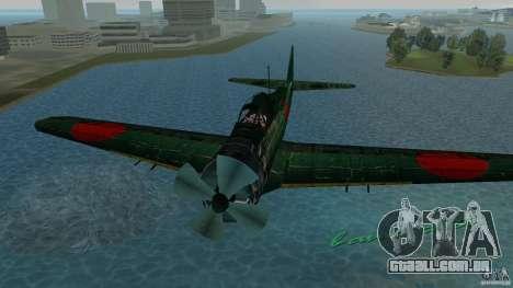 Zero Fighter Plane para GTA Vice City vista traseira