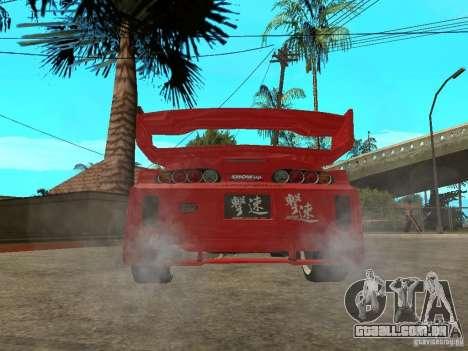 Toyota Supra Chargespeed para GTA San Andreas traseira esquerda vista