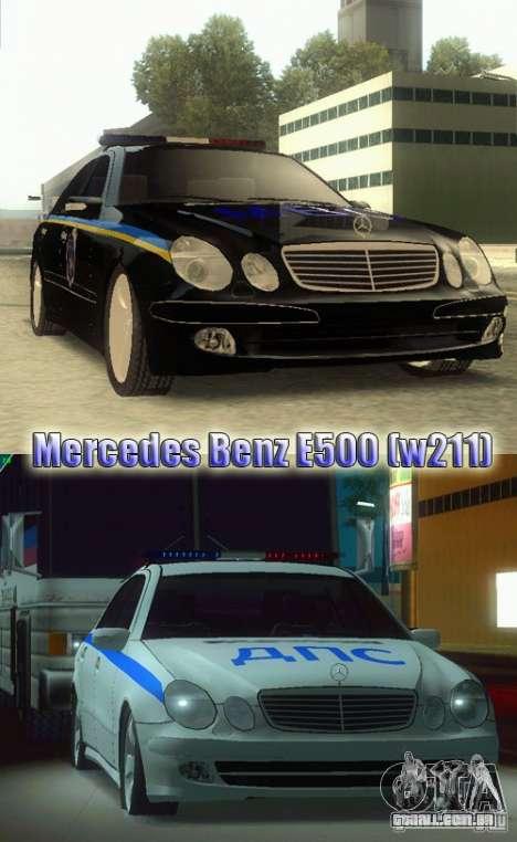 MERCEDES BENZ E500 w211 SE polícia Ucrânia para GTA San Andreas traseira esquerda vista