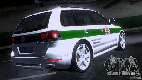 Volkswagen Touareg Policija para GTA San Andreas traseira esquerda vista