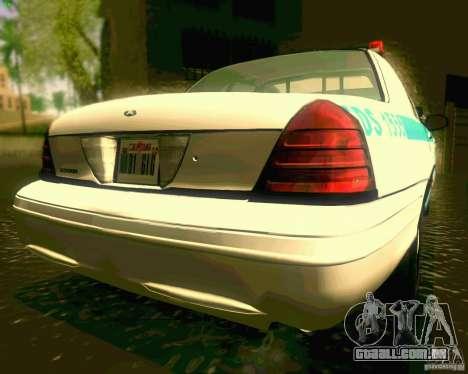 Ford Crown Victoria 2003 NYPD police para GTA San Andreas vista traseira