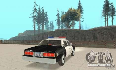 Chevrolet Caprice Interceptor 1986 Police para GTA San Andreas traseira esquerda vista