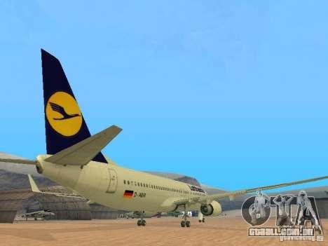 Boeing 737-800 Lufthansa para GTA San Andreas vista direita