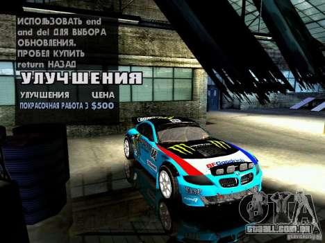 BMW Z4 Rally Cross para GTA San Andreas vista inferior