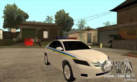 Toyota Camry 2010 SE Police UKR para GTA San Andreas vista traseira