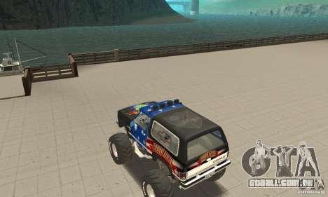 Chevrolet Blazer K5 Monster Skin 3 para GTA San Andreas traseira esquerda vista