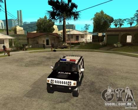 AMG H2 HUMMER SUV SAPD Police para GTA San Andreas vista interior