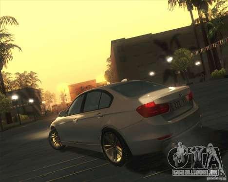 BMW 3 Series F30 2012 para GTA San Andreas traseira esquerda vista