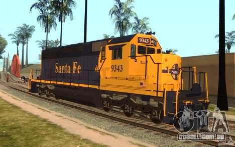 Locomotiva SD 40 Santa Fe azul/amarelo para GTA San Andreas