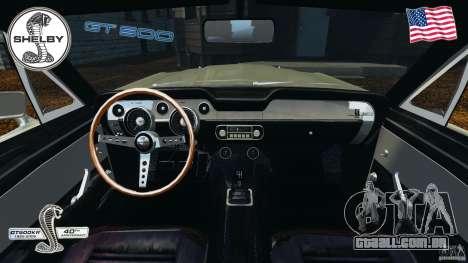 Shelby GT 500 para GTA 4 vista de volta