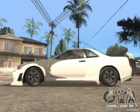 Nissan Skyline R-34 TUNED para GTA San Andreas esquerda vista