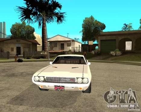 Dodge Challenger R/T Hemi 70 para GTA San Andreas vista traseira