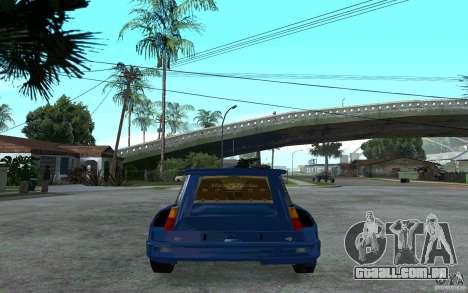 Renault 5 Maxi Turbo para GTA San Andreas traseira esquerda vista