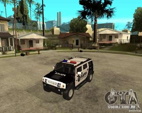 AMG H2 HUMMER SUV SAPD Police para GTA San Andreas esquerda vista