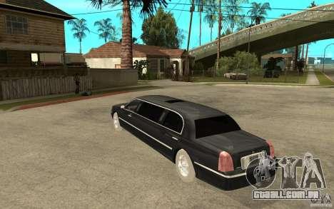 Lincoln Towncar limo 2003 para GTA San Andreas traseira esquerda vista