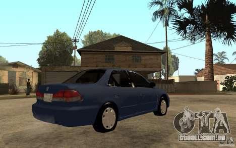 Honda Accord 2001 beta1 para GTA San Andreas vista direita