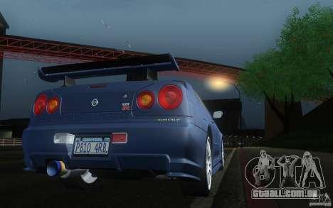 Nissan Skyline GT-R R34 M-spec Nur para GTA San Andreas vista direita