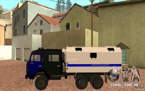 Polícia Kamaz para GTA San Andreas traseira esquerda vista