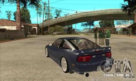 Nissan 180SX Turbo JDM para GTA San Andreas traseira esquerda vista
