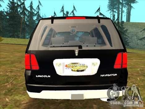 Lincoln Navigator para GTA San Andreas traseira esquerda vista