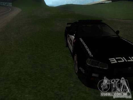 Nissan Skyline R34 Police para GTA San Andreas vista traseira