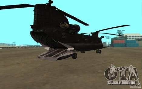 MH-47G Chinook para GTA San Andreas traseira esquerda vista